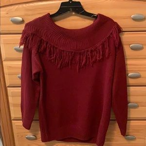 Women's off one shoulder sweater with fringe top